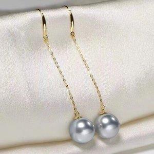 Pendientes de perlas D825, joyería fina, Oro Sólido 18K redondo 8-9mm, perlas grises de agua dulce, Pendientes colgantes para mujeres, regalos