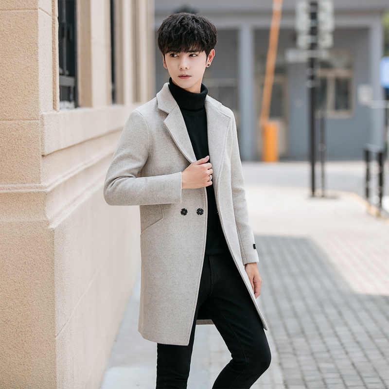 Abrigo informal YASUGUOJI de Color liso para Hombre, abrigo largo ajustado de Invierno para Hombre, abrigo de poliéster para Hombre