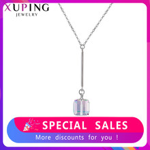 Xuping Jewelry Pendant Square Shape Crystals from Swarovski Romantic Necklaces Girl Women Christmas Gifts M96-40179(China)