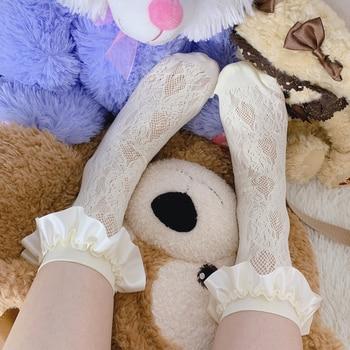 Princesa dulce medias de lolita japonés verano romántico de seda negra de flor princesa dulce niña medias de encaje de las mujeres XWZ132