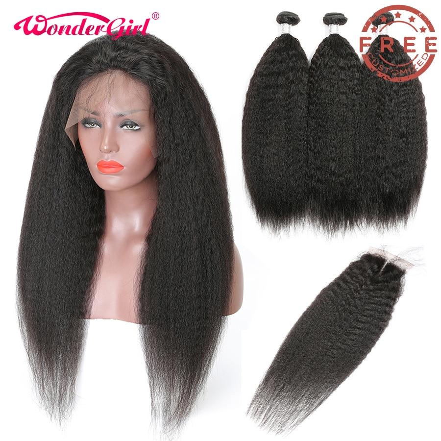 Free Customized Kinky Straight 4x4 Closure Wig 300 Density By Brazilian Remy Kinky Straight Human Hair Bundles With Closure