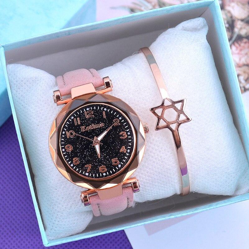Casual romântico céu estrelado relógios femininos moda pulseira senhoras relógio de pulso simples relógio de couro feminino relogio feminino