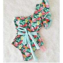 Купальник на одно плечо, сдельный купальник, сексуальный купальник с принтом, женский купальный костюм с оборками, купальный костюм, пляжная одежда, монокини, купальник