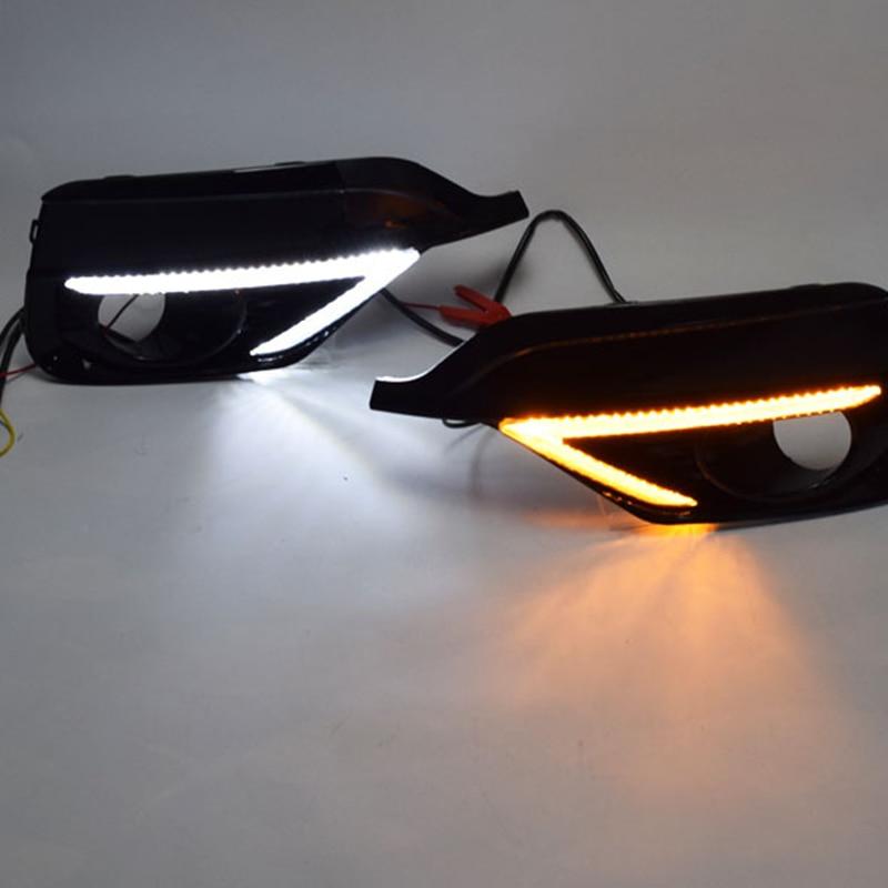 Turn Yellow Signal Relay Waterproof Car DRL 12V LED Daytime Running Light Fog Lamp for Honda Fit Jazz Sport 2018 2019