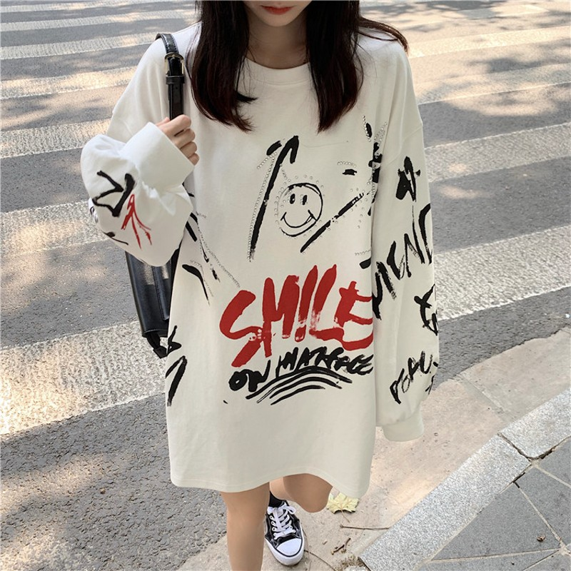 Homemade/2019 New Hip-hop Street Graffiti Printed Loose Bf Long Sleeve Sanitary Clothes For Men And Women Hoodies Sweatshirts