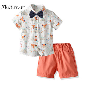 Letnie zestawy ubrań dla chłopców z krótkim rękawem nadruk kreskówkowy top jednorzędowy spodenki spodnie 2 szt. Stroje plażowe 1-6Y