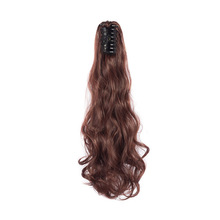 ValentWigs Long Wavy Claw Ponytail Clip On Synthetic Hair Extensions Pure Color Wrap Around Pony Tail Jaw in pieces