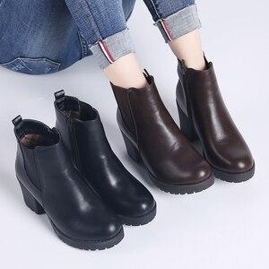 Image 5 - TKN véritable bottes femmes bottines hiver neige bottes en cuir véritable bottes pour femmes mode fermeture éclair chelsea bottes nouveauté 1902
