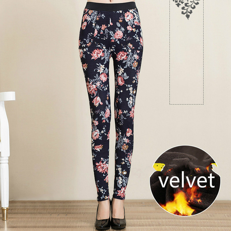 Autumn Winter Women 39 s Warm Velvet Pencil Pants Female Elastic Waist Fleece Trousers Casual Thick Skinny Floral Print Leggings in Pants amp Capris from Women 39 s Clothing