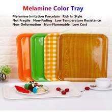 Melamine Tableware Rectangular Tray Hotel Restaurant Plastic Plate Cake Fast Food Bread Imitation Porcelain Serving Platter