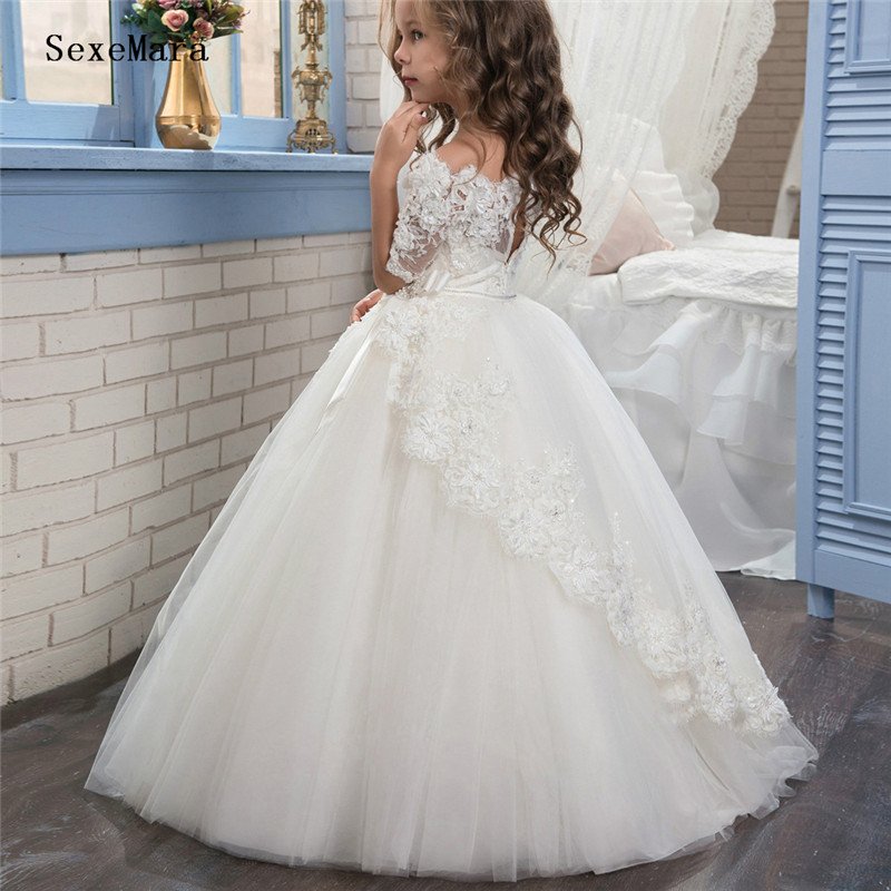 White Ivory   Flower     Girl     Dresses   Lace Half Sleeve Ball Gown First Communion   Dresses   for   Girls   Vestidos Longo New Arrival