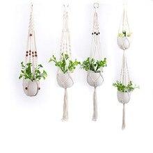 Ручная работа, подвеска для растений из макраме цветок/горшок вешалка для отделки стен Countyard сада Открытый Декор украшения для балкона