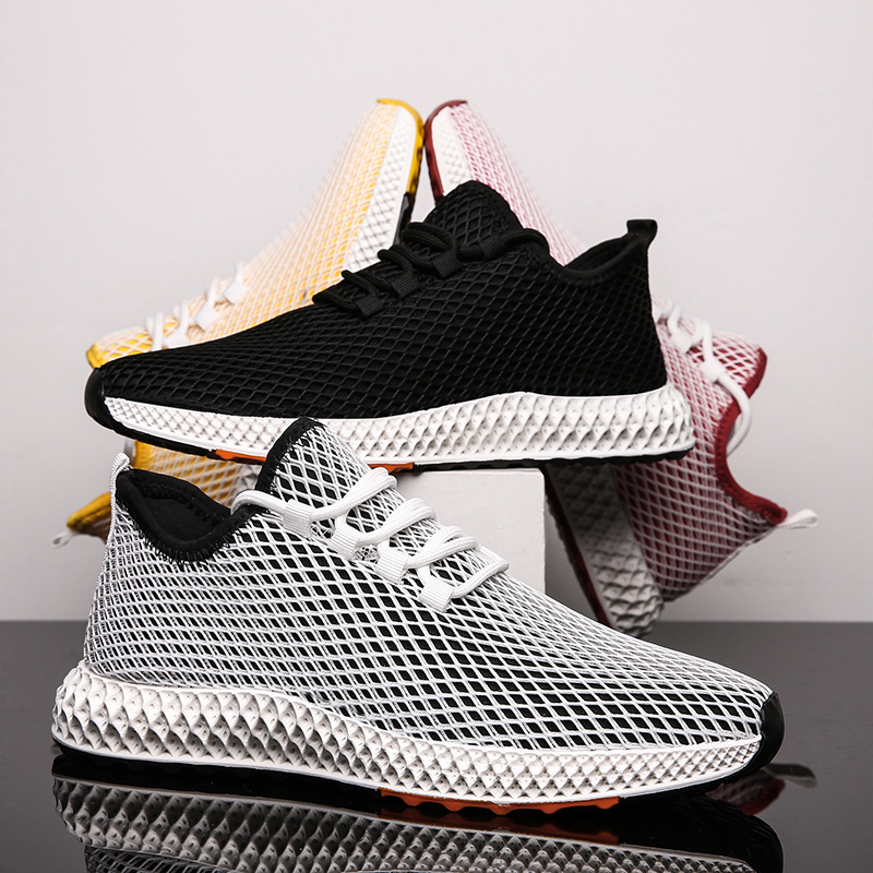 SHUJIN Men Shoes Sneakers Flats Mesh Summer Man Breathable Running