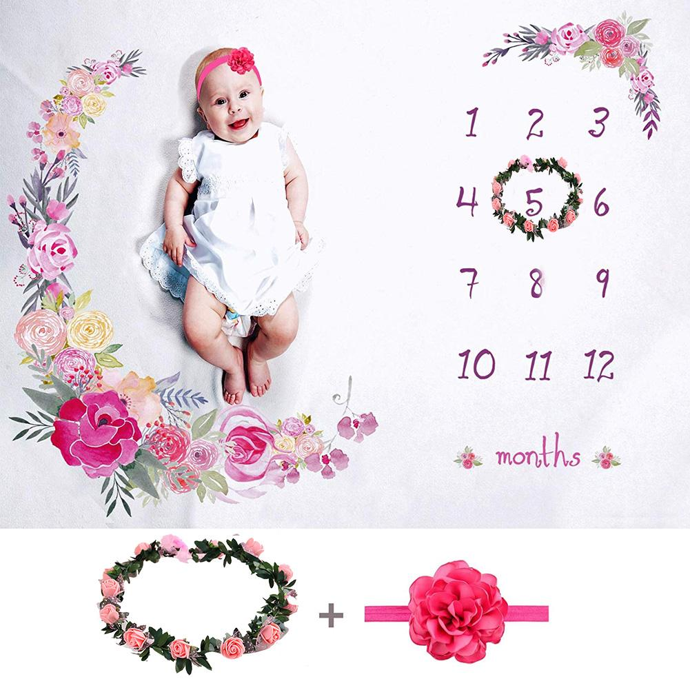 Cartoon Print Soft Newborn Photography Background Blanket New Born Baby Week Month Year Anniversary Photo Backdrop