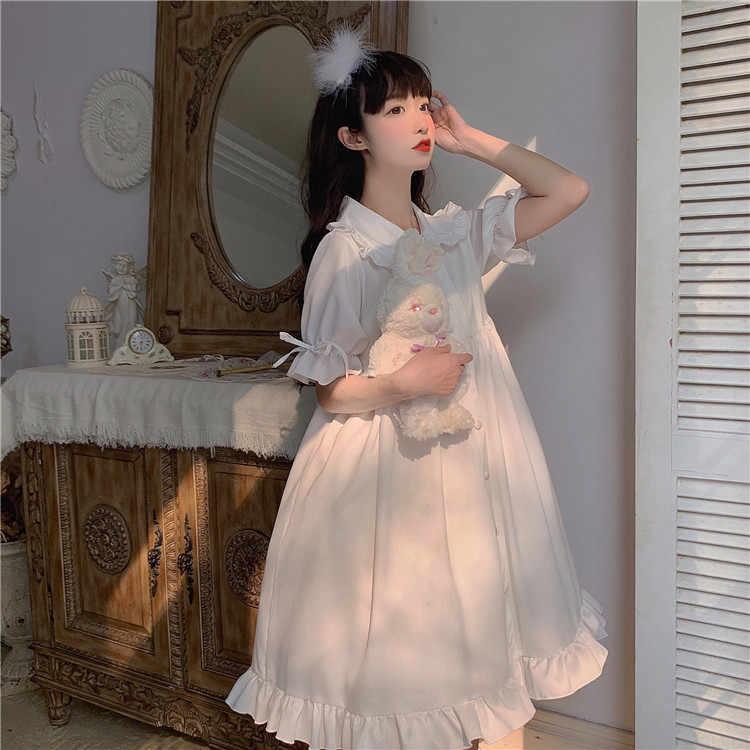 חמוד בובת צווארון פרע קצר שרוול ארוך שמלת קיץ 2020 חדש גותי לוליטה שמלת נשים ויקטוריאני שמלה מתוקה לוליטה חצאית