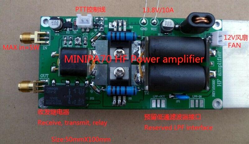 Assembled 70W HF Power Amplifier For FT-817 818 KX3 High Frequency + Heatsink