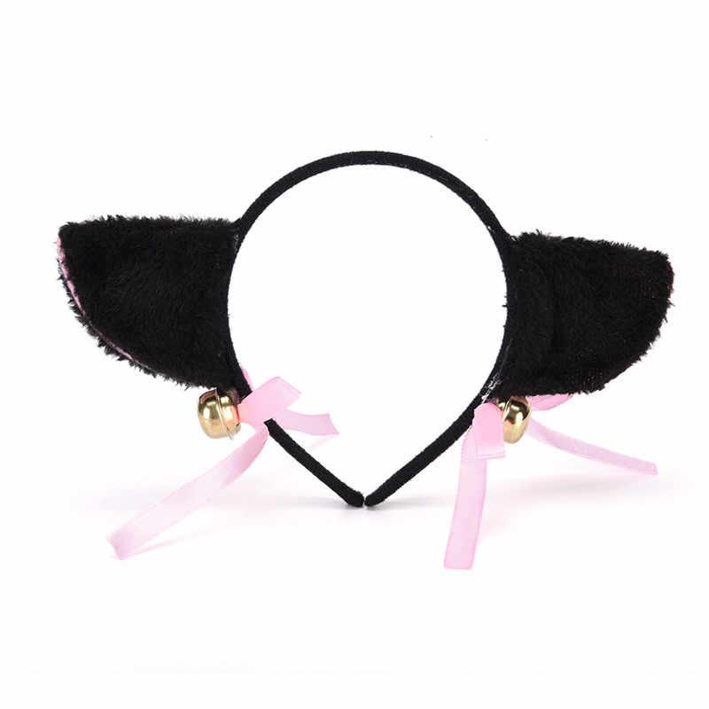 Wanita Fashion Menawan Hairband Bell Hairwear Indah Fox Telinga Kucing Bulu Rambut Klip