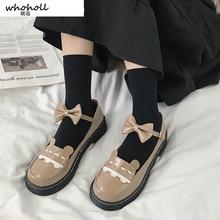 Female Student Shoes College Girl Lolita Jk Uniform Pu Leather Bow Platform Woman Flats