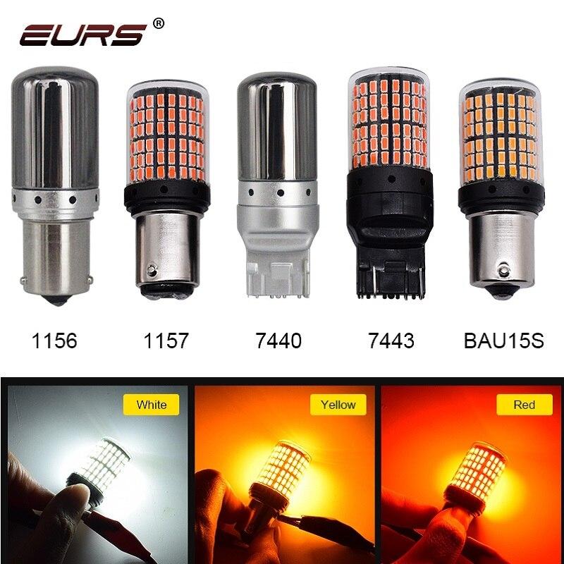 1 Uds T20 7440 7443 W21W 1157 BAY15D bombillas LED 1156 BA15S P21W BAU15S 3014 144smd Error Canbus gratis de señal de vuelta de las luces de lámpara de freno