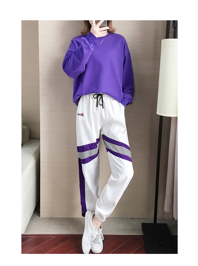 Autumn Winter Purple Two Piece Sets Women Long Sleeve Sweatshirt And Pants Suits Casual Fashion Korean Bf Style 2 Piece Sets 40