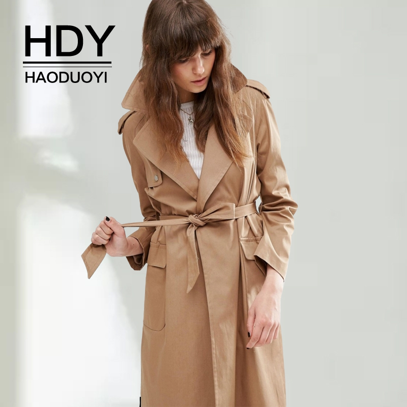 HDY Haoduoyi Autumn Fashion Women windbreaker Vintage Washed Outwears Loose Coat Slim Waist All-match Casual Femme   Trench   Coat