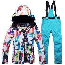 Новый толстый теплый лыжный костюм для женщин, водонепроницаемый ветрозащитный лыжный костюм и куртка для сноубординга, комплект со штанам...