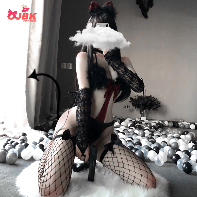 OJBK Sexy Cat Cosplay Bra Set Lingerie Devil Maid For Women Black Red Punk Temptation Roleplay Costumes Erotic Bikini Hot Outfit