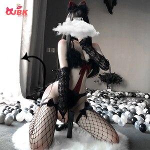Image 1 - Ojbk sexy gato cosplay sutiã conjunto lingerie diabo maid para mulher preto vermelho punk tentação roleplay trajes de biquíni erótico roupa quente