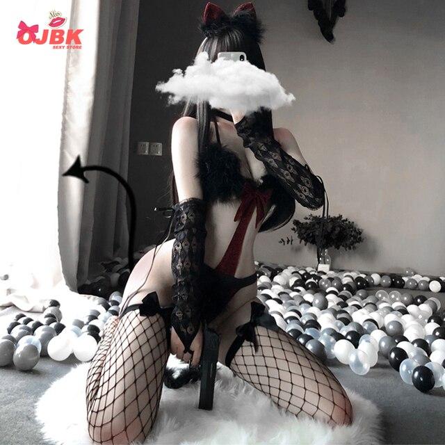 Ojbk sexy gato cosplay sutiã conjunto lingerie diabo maid para mulher preto vermelho punk tentação roleplay trajes de biquíni erótico roupa quente