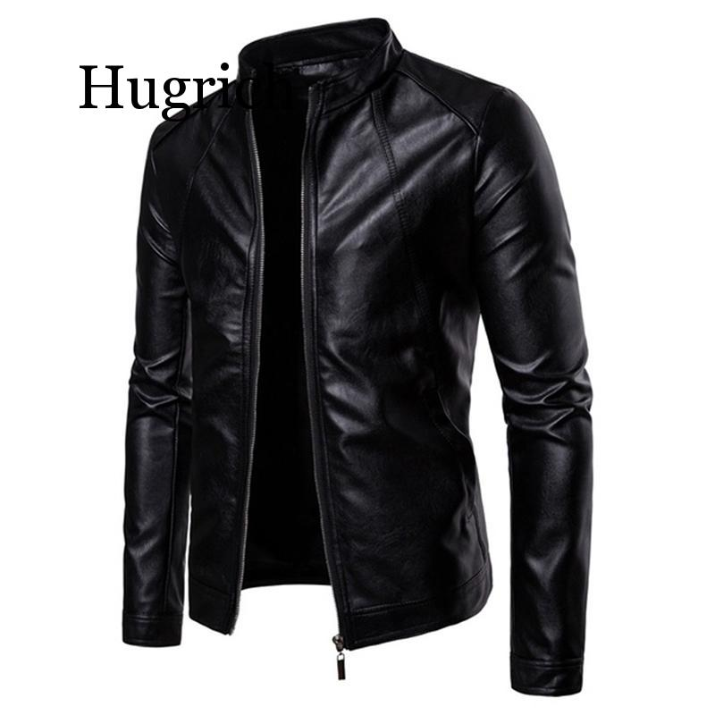 Black Motorcycling Jackets Faux Leather Jacket Mens Autumn Winter Clothing Stand Collar Zipper Leather Coats Biker Jackets Man