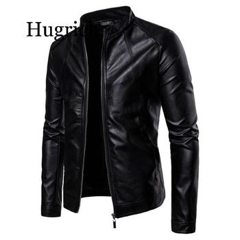 Black Motorcycling Jackets Faux Leather Jacket Mens Autumn Winter Clothing Stand Collar Zipper Leather Coats Biker Jackets Man hanqiu leather jacket men winter autumn pu faux leather solid jackets slim fit zipper pocket stand collar casual men jacket
