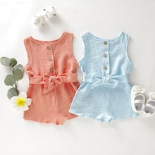 Fashion Baby Rompers Sleeveless Solid Print Kids Girls Clothes Jumpsuit Overalls Newborn