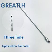 Cánula de recolección de grasa de tres agujeros para células madre, aspirador de agujas de transferencia de grasa de cánula de liposucción para uso de belleza