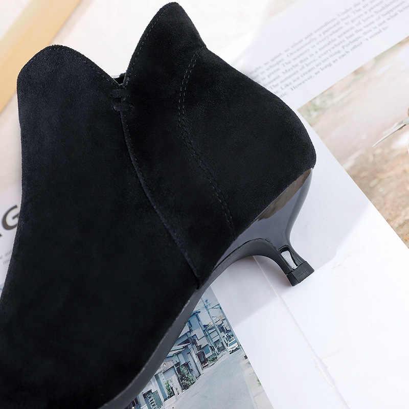 Siyah kış çizmeler kadın 2019 kadın ayakkabısı kadın Mujer fermuar patik yarım çizmeler kadınlar için akın yüksek topuklu sivri burun çizmeler