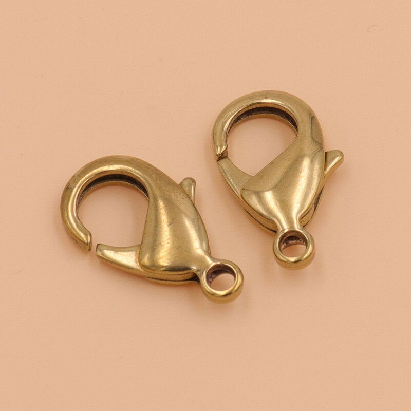 10pcs Brass Lobster claw clasps snap hook for leather craft bag key ring jewelry finding in Buckles Hooks from Home Garden