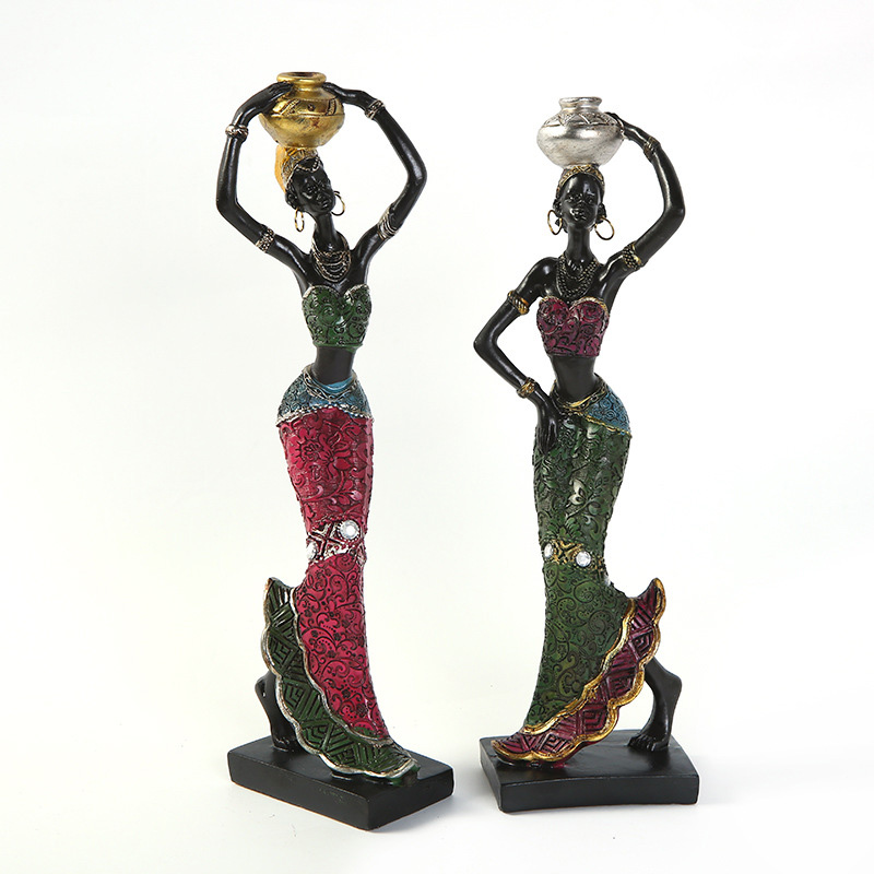 African American Lady Ladies Children Black Statue Decoration Wood Like Dress Pillar Candle Holder