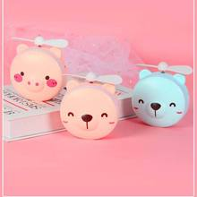 2021 New Cartoon USB Handheld Mini Fan Rechargeable Fill Light Stand Fans Casual Portable with Makeup Mirror Small Ventilador 01