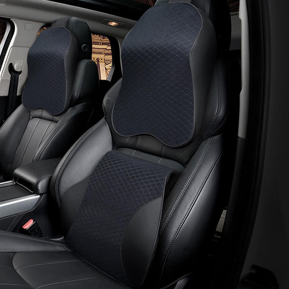 1 ensemble voiture oreiller cou oreiller 3D mémoire mousse siège Auto en cuir synthétique polyuréthane coussin soutien lombaire universel dos oreiller Auto accessoires
