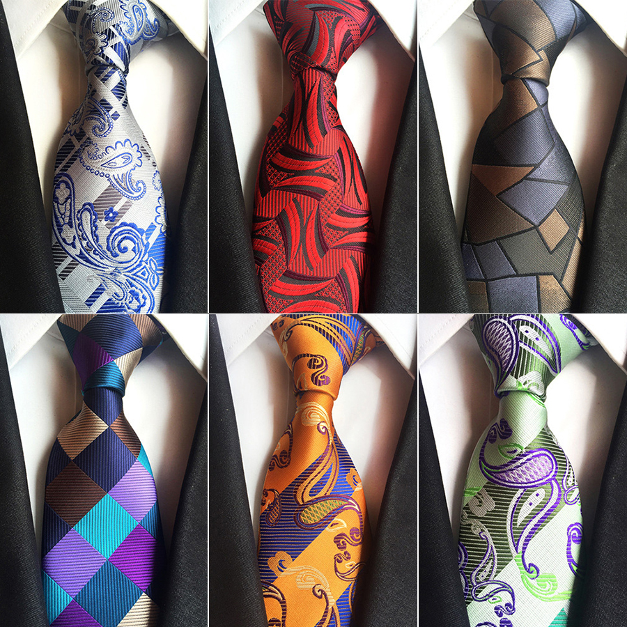 8cm Silk Jacquard Weave Tie For Man Fashion Paisley Floral Plaid Neck Tie Green Blue Grey Business Wedding Formal Necktie
