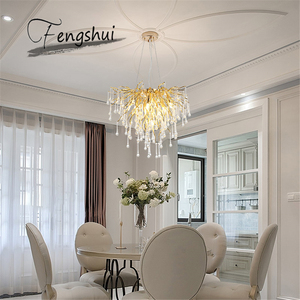 Image 4 - Nordic Luxury Gold Crystal LED Chandelier LOFT Villa Large Lustre LED Pendant Lamp for Living Room Hotel Hall Art Decor Lighting