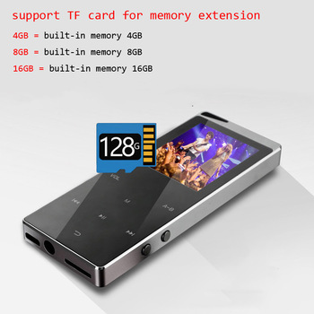 2021 New Bluetooth MP4 Music Player 4GB 8GB 16GB Touch Key SD Card Insert FM Radio Multiple Language Luxury Metal HiFi Player 1