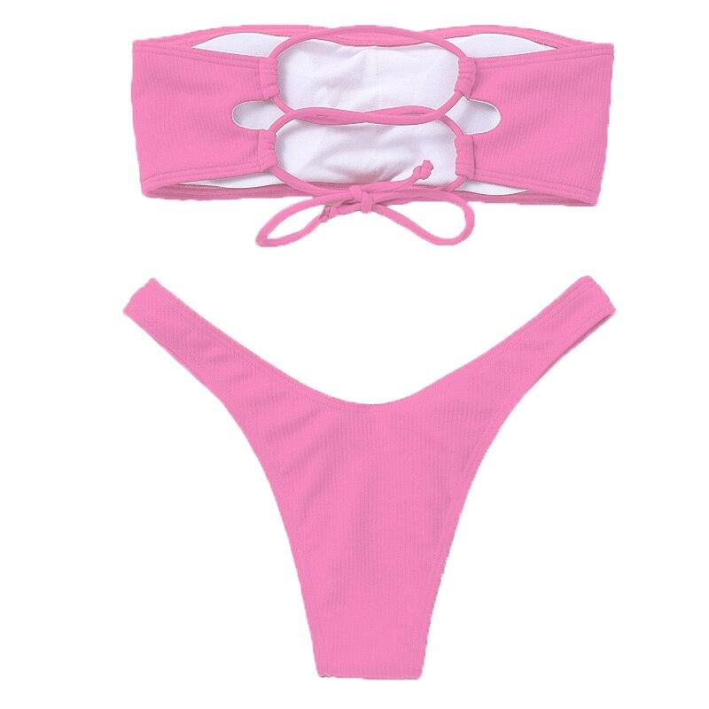 Strapless Bikini 2020 Woman 2 Piece Swimsuit Solid Swimwear Sexy Bikini Set Female Swimwear High Waist