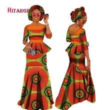 Осенние африканские платья для женщин, индивидуальная Женская африканская юбка Дашики, комплект+ головной платок, 3 штуки, одежда на заказ, WY1630