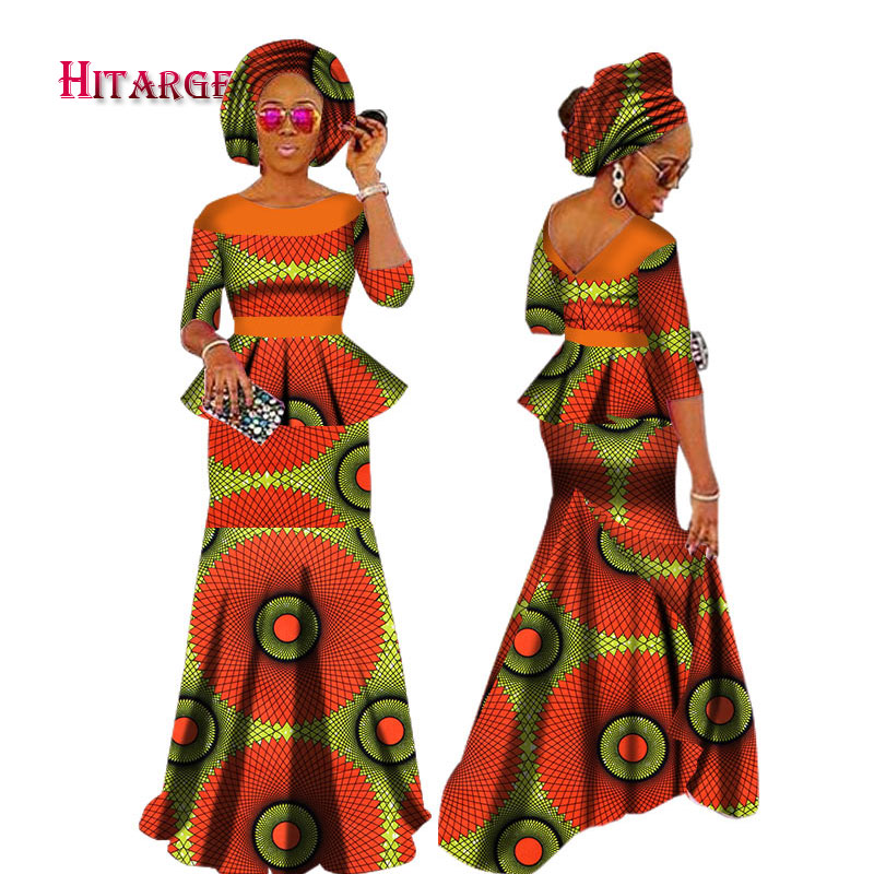Autumn African Dresses For Women Private Custom Women African Dashiki Skirt Set+Head Scarf 3 Pieces Clothing Customizable WY1630
