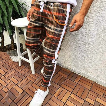 summer men trousers casual Men Lattice Pencil Casual Plaid Drawstring Elastic Waist Long Pants men trousers casual#4 Uncategorized Fashion & Designs Men's Fashion