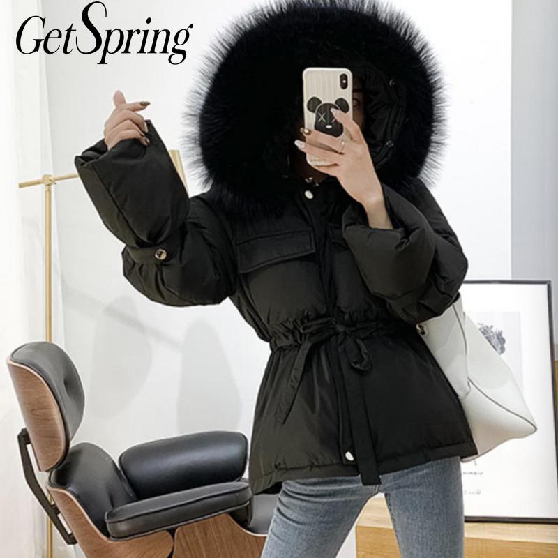 GetSpring femmes Parka hiver veste de survêtement manteau à capuche hiver femme manteau en vrac décontracté doudoune hiver manteau taille haute Parka