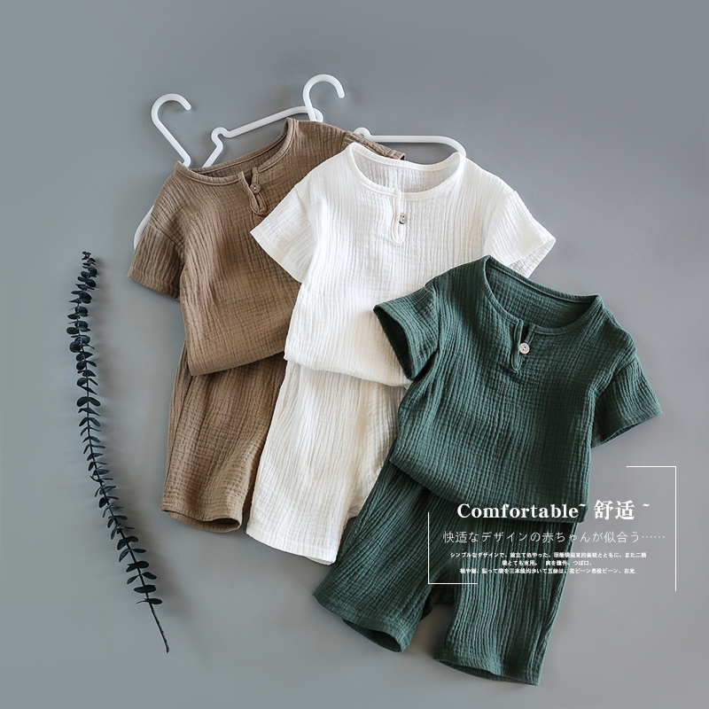 Baby Summer Cotton Soft  Set  Children Short Sleeve + Shorts Two-Piece Set Kids Clothes Cotton And Linen  Kids Clothes Boys