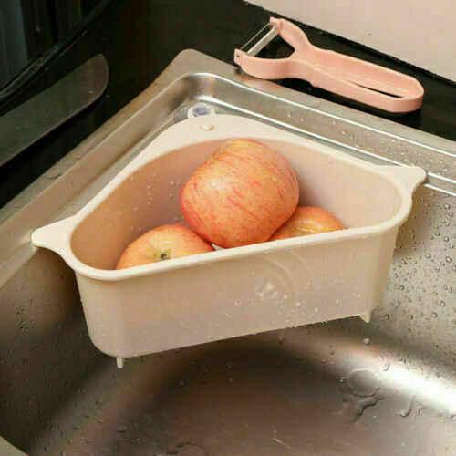 Triangle cuisine évier étagère égouttoir salle de bain suspendu support de rangement panier multifonctionnel paniers de rangement