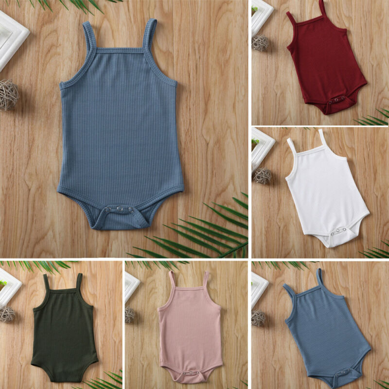 2020 Infant Baby Square Collar Bodysuits Newborn Baby Boy Girl Sling Romper Bodysuit Jumpsuit Outfit Clothes Set