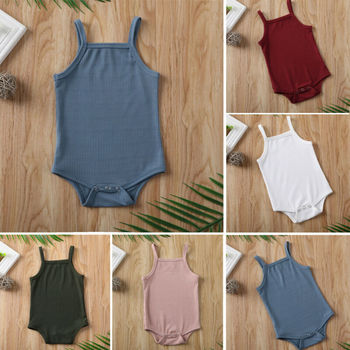 2020 Infant Baby Square Collar Bodysuits Newborn Baby Boy Girl Sling Romper Bodysuit Jumpsuit Outfit
